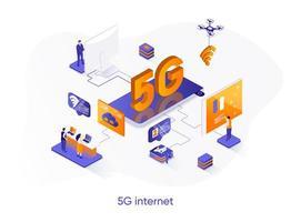 Banner de web isométrico de internet 5g. vector
