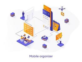 Mobile organizer isometric web banner. vector