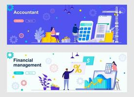Accountant and financial management landing pages vector