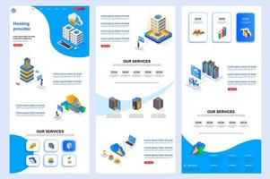 Hosting provider isometric landing page. vector