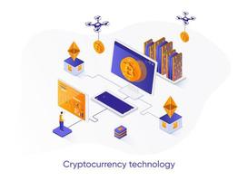 Cryptocurrency technology isometric web banner. vector