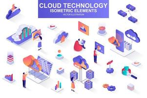 Cloud technology bundle of isometric elements. vector