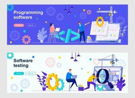 Programming software landing pages with people vector