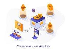 Cryptocurrency marketplace isometric web banner. vector
