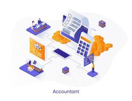 Accountant isometric web banner. vector