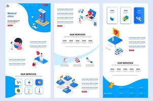 Medical clinic isometric landing page. vector
