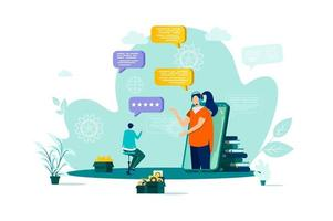 Customer support concept in flat style. vector