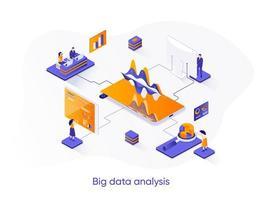 banner web isométrico de análisis de big data. vector