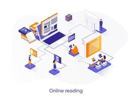 Online reading isometric web banner. vector