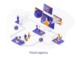Travel agency isometric web banner. vector