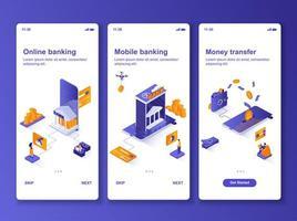 Online banking isometric GUI design kit. vector