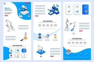 Medical laboratory isometric landing page. vector