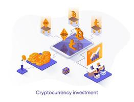 Cryptocurrency investment isometric web banner. vector