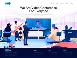 somos videoconferencia para todos, página de aterrizaje isométrica. vector