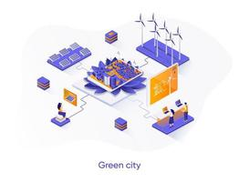 Green city isometric web banner.