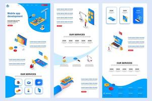 Mobile app development isometric landing page. vector