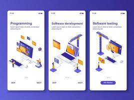 Software development isometric GUI design kit. vector