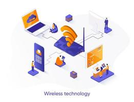 Wireless technology isometric web banner. vector