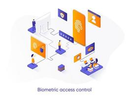 Biometric access control isometric web banner. vector