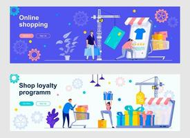 Online shopping marketplace landing pages with people