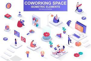 Coworking space bundle of isometric elements. vector