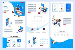 Distance education isometric landing page. vector