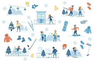Winter sports bundle of flat scenes. vector