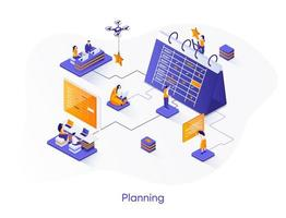 banner web isométrico de planificación empresarial. vector