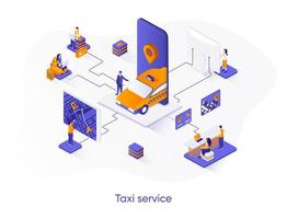 Taxi service isometric web banner. vector