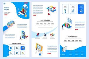 Online library isometric landing page. vector