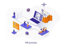 banner web isométrico de proceso de recursos humanos.