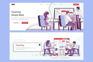 Coaching landing pages set. vector
