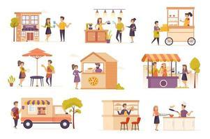 Family business bundle of flat scenes. vector