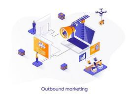 Outbound marketing isometric web banner.