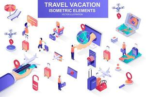 Travel vacation bundle of isometric elements. vector