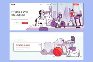 Fitness gym landing pages set. vector