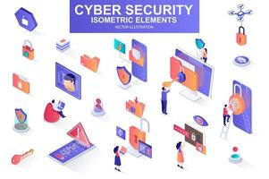 Cyber security bundle of isometric elements. vector
