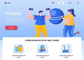 Fitness flat landing page vector