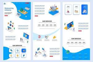 Outsourcing company isometric landing page. vector