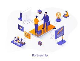 Business partnership isometric web banner. vector