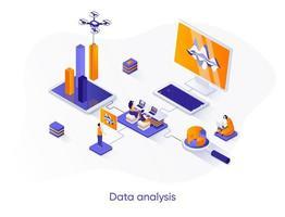 banner web isométrico de análisis de datos. vector