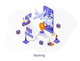 Flight booking isometric web banner. vector