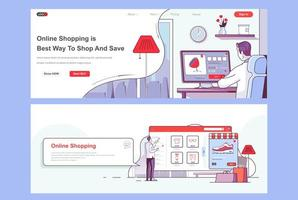 Online shopping landing pages set. vector