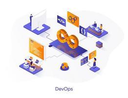 banner web isométrico devops. vector