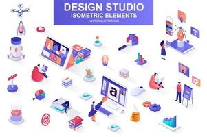 Design studio bundle of isometric elements. vector