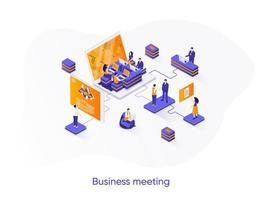 Business meeting isometric web banner. vector