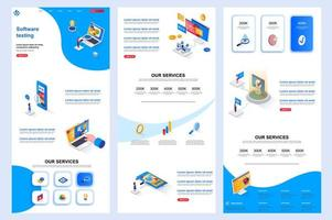 Software testing isometric landing page. vector