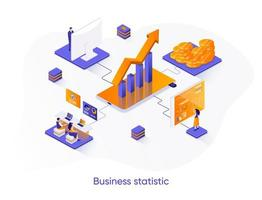 Business statistic isometric web banner.