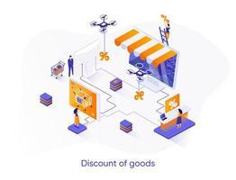 Discount of goods isometric web banner. vector