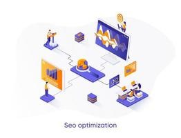 SEO optimization isometric web banner. vector